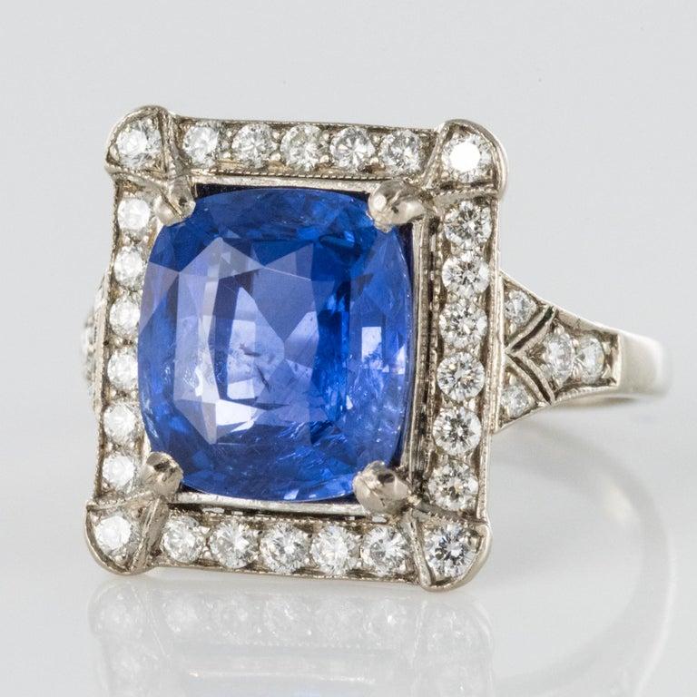 Art Deco Style French 5 Carat Ceylon Sapphire Diamond 18 Karat White Gold Ring For Sale 6
