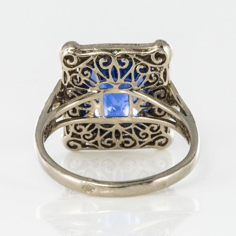 Art Deco Style French 5 Carat Ceylon Sapphire Diamond 18 Karat White Gold Ring For Sale 8
