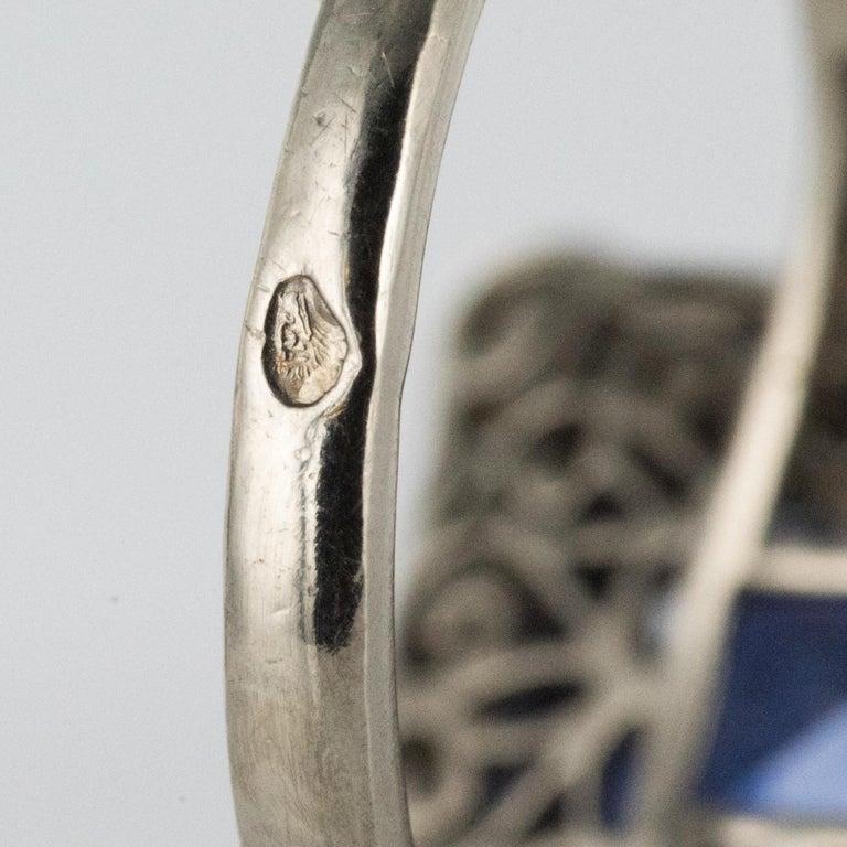 Art Deco Style French 5 Carat Ceylon Sapphire Diamond 18 Karat White Gold Ring For Sale 9