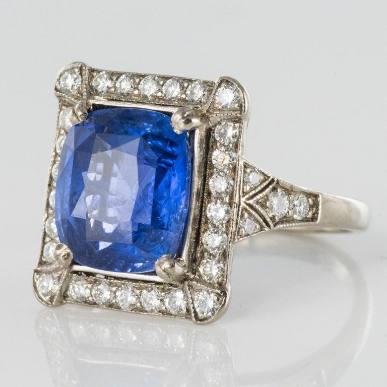 Art Deco Style French 5 Carat Ceylon Sapphire Diamond 18 Karat White Gold Ring For Sale 10