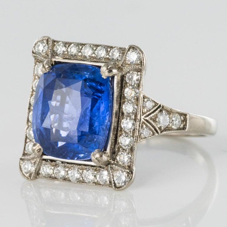 Cushion Cut Art Deco Style French 5 Carat Ceylon Sapphire Diamond 18 Karat White Gold Ring For Sale