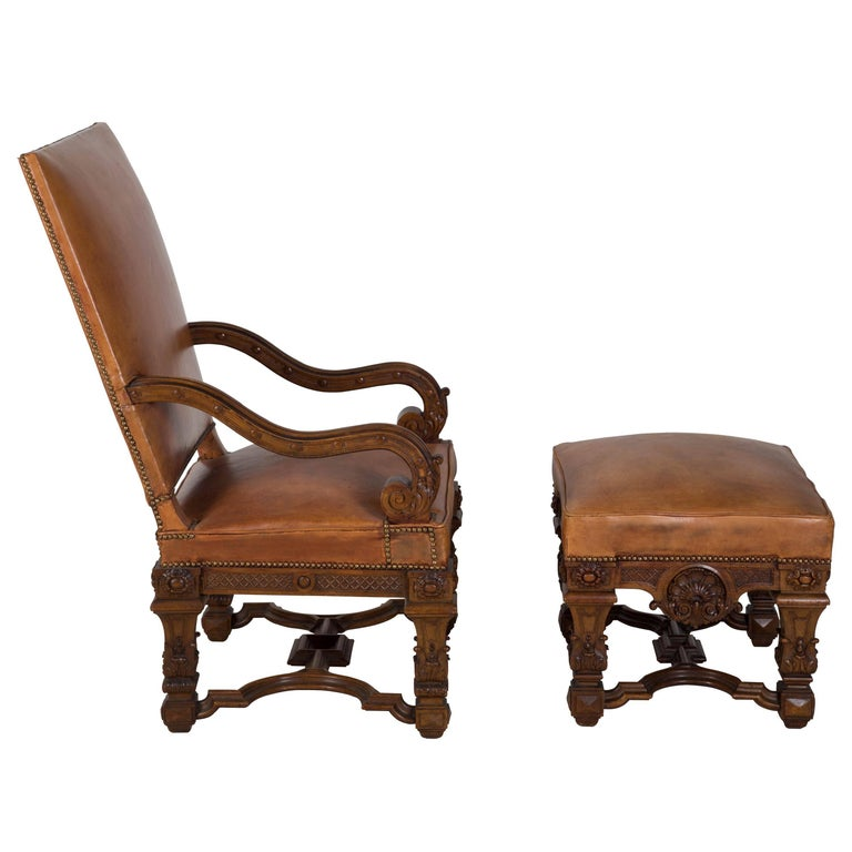 French Chair and Ottoman In Good Condition For Sale In Gloucestershire, GB