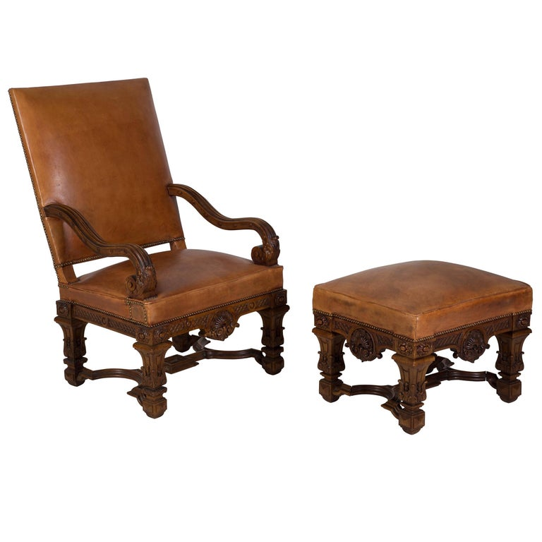 19th Century French Chair and Ottoman For Sale