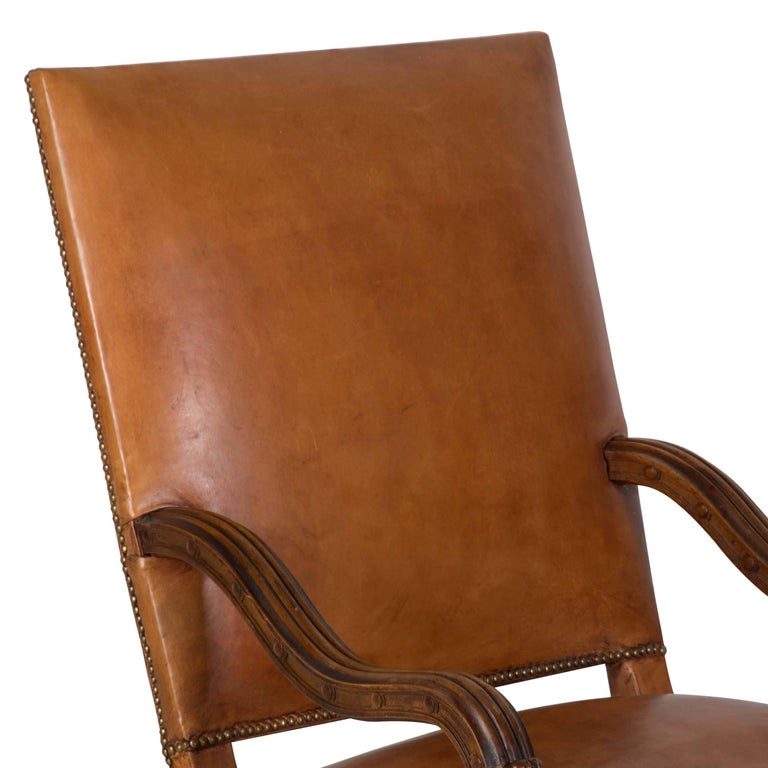 Leather French Chair and Ottoman For Sale