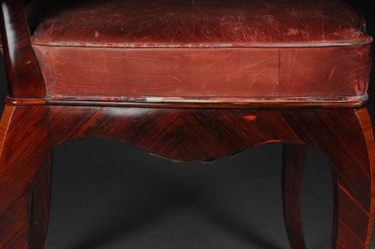 French Chair Leather-Covered tulip veneer Louis Quinze, circa 1890 For Sale 3