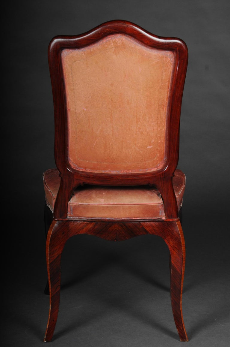 French Chair Leather-Covered tulip veneer Louis Quinze, circa 1890 For Sale 5