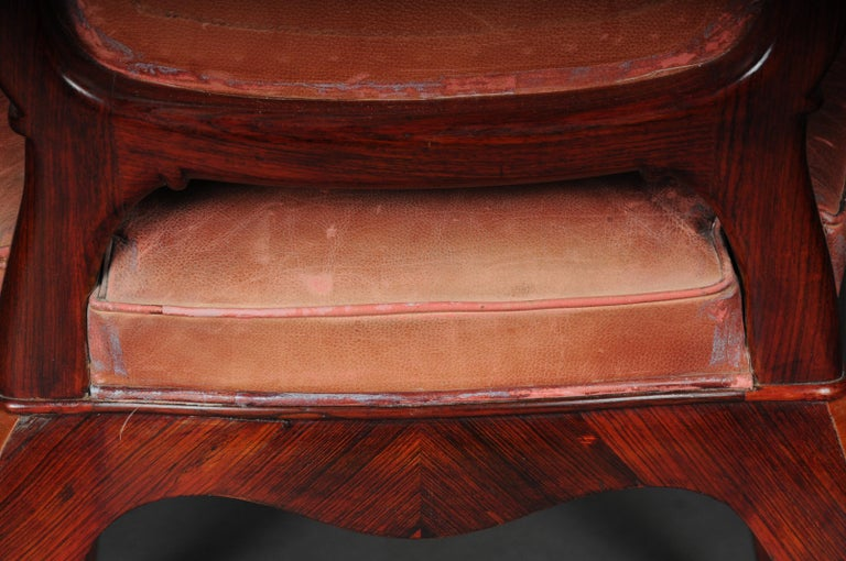 French Chair Leather-Covered tulip veneer Louis Quinze, circa 1890 For Sale 6