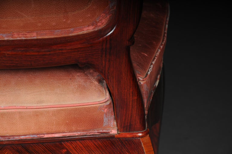 French Chair Leather-Covered tulip veneer Louis Quinze, circa 1890 For Sale 7