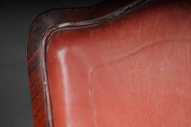 French Chair Leather-Covered tulip veneer Louis Quinze, circa 1890 For Sale 8