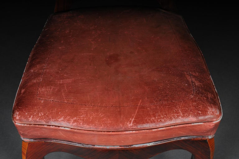 French Chair Leather-Covered tulip veneer Louis Quinze, circa 1890 For Sale 9