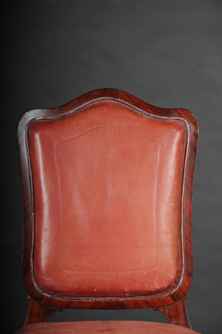 tulipwood veneered on solid wood. Appropriately curly and elegant shape. Seat and backrest are finished with a historical, classic upholstery.   (C-149).