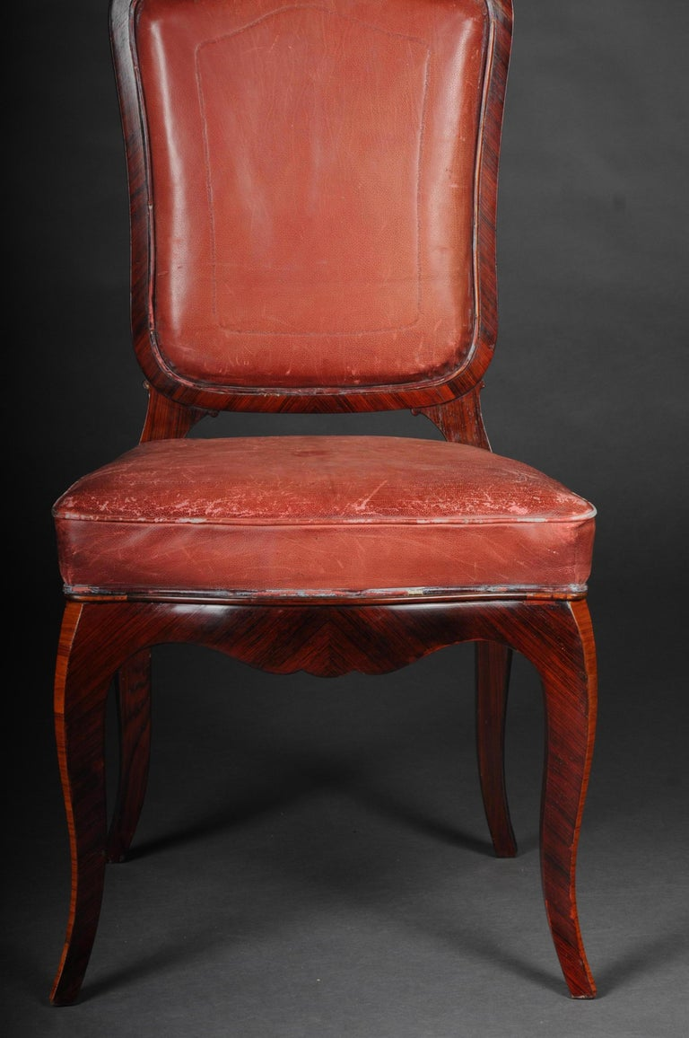 Louis XV French Chair Leather-Covered tulip veneer Louis Quinze, circa 1890 For Sale