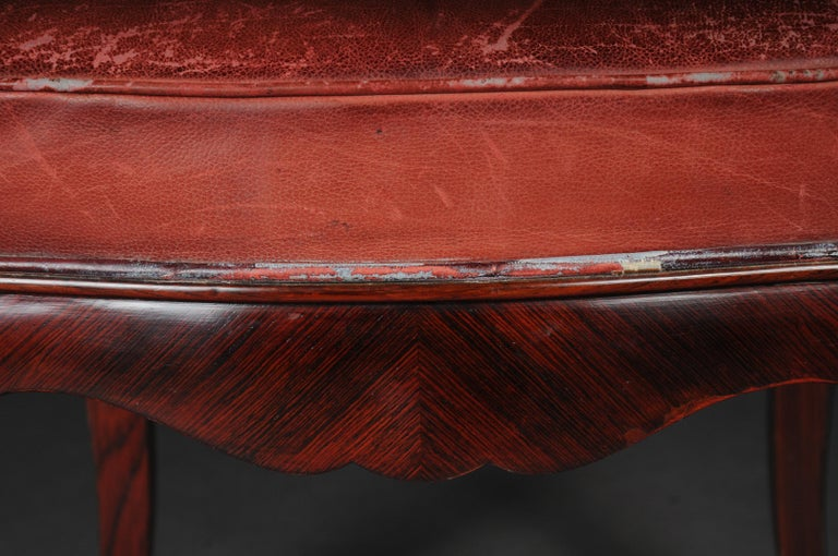 Veneer French Chair Leather-Covered tulip veneer Louis Quinze, circa 1890 For Sale