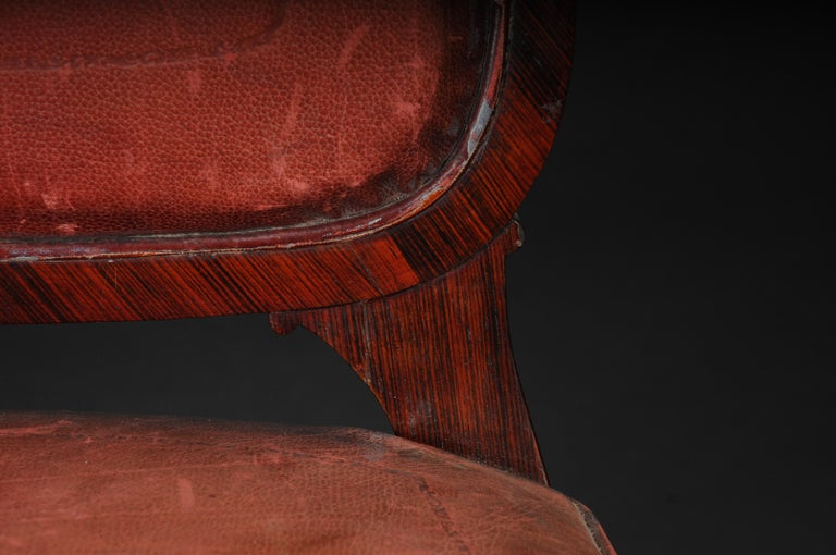 19th Century French Chair Leather-Covered tulip veneer Louis Quinze, circa 1890 For Sale