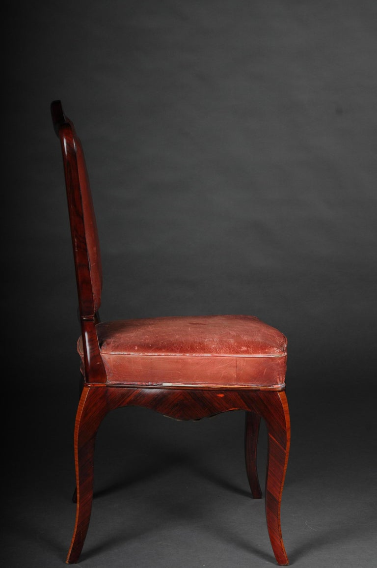French Chair Leather-Covered tulip veneer Louis Quinze, circa 1890 For Sale 2