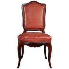 French Chair Leather-Covered Rosewood Louis Quinze, circa 1890
