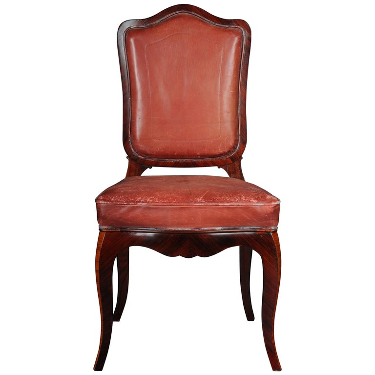 French Chair Leather-Covered tulip veneer Louis Quinze, circa 1890 For Sale