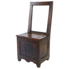 French Chair with Hinged Seat for Storage, circa 1850