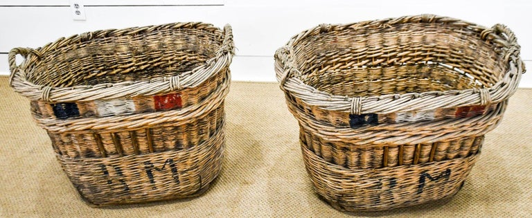 Wicker French Champagne Grape Gathering Baskets, Sold Singly For Sale