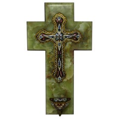 French Champlevé Enamel and Alabaster Benitier Crucifix Holy Water Wall Font