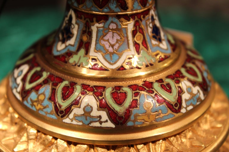 French Champlevé Enamel, Gilt Bronze and Onyx Tazza, circa 1910 For Sale 4
