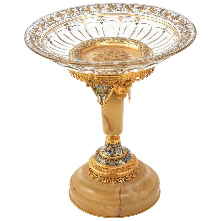 French Champlevé Enamel, Gilt Bronze and Onyx Tazza, circa 1910 For Sale