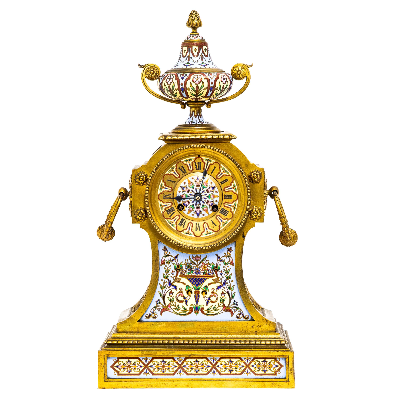 French Champleve Enamel Gilt Bronze Mantel Clock