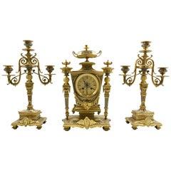 French champlevé Enamel Greek Revival Bronze Clock Set