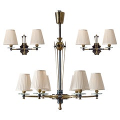 French Chandelier and Sconces, circa 1950, Patinated Brass