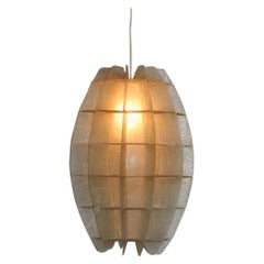French Chandelier Oval 1960s in Beige Resin Like a Maze Verner Panton Style