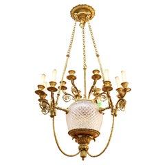 French Charles X Bronze & Cut Glass Chandelier