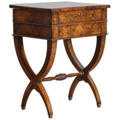 French Charles X Burl Walnut Hinged-Top Dressing Table, circa 1830