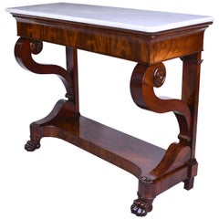 French Charles X Console Table in West Indies Mahogany with White Marble, c 1820