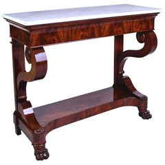 French Charles X Console Table in West Indies Mahogany with White Marble