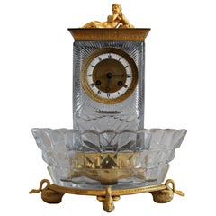 French Charles X Crystal and Ormolu Mantel Clock Signed Lepine et Cie a Paris