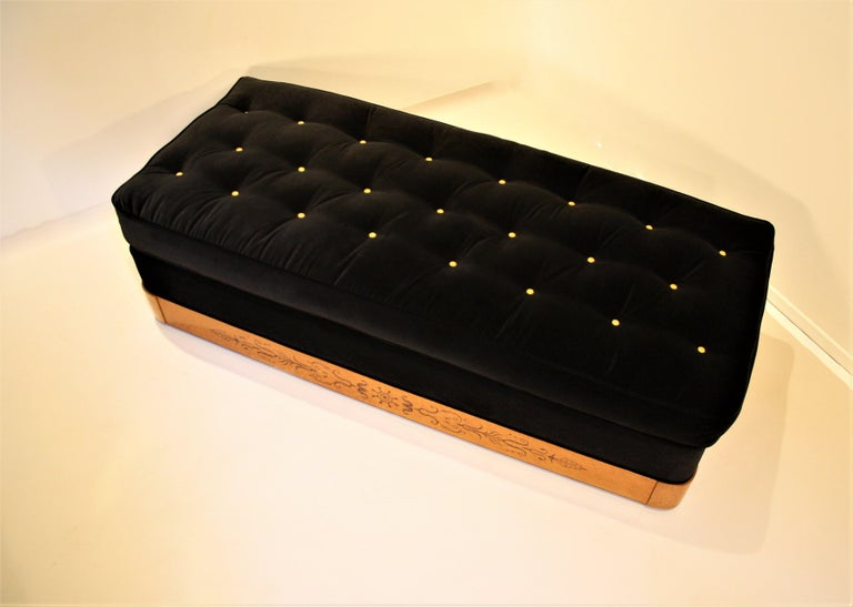 Velvet French Charles X Daybed, 1825 For Sale