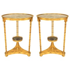 French Charles X Faux Bamboo and Green Marble Tables