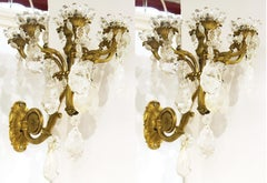 French Charles X Gilt Bronze & Rock Crystal Wall Sconces