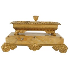 French Charles X Large Marble and Gilded Bronze Ink Well and Candle Stand
