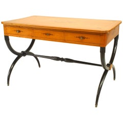 French Charles X Maple and Inlaid Cross Leg Table Desk