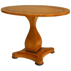 French Charles X Maple and Inlaid Oval Top Centre Table