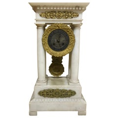 French Charles X Marble and Brass Portico Mantel Clock, circa 1860
