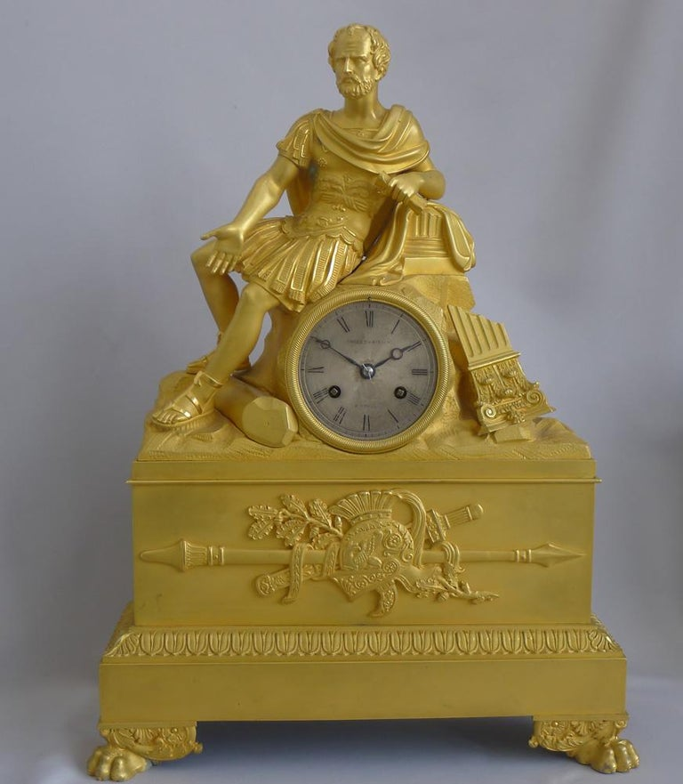 French Charles X Musical Ormolu Mantel Clock of Gaius Marius Signed Robert Houdi In Good Condition For Sale In London, GB