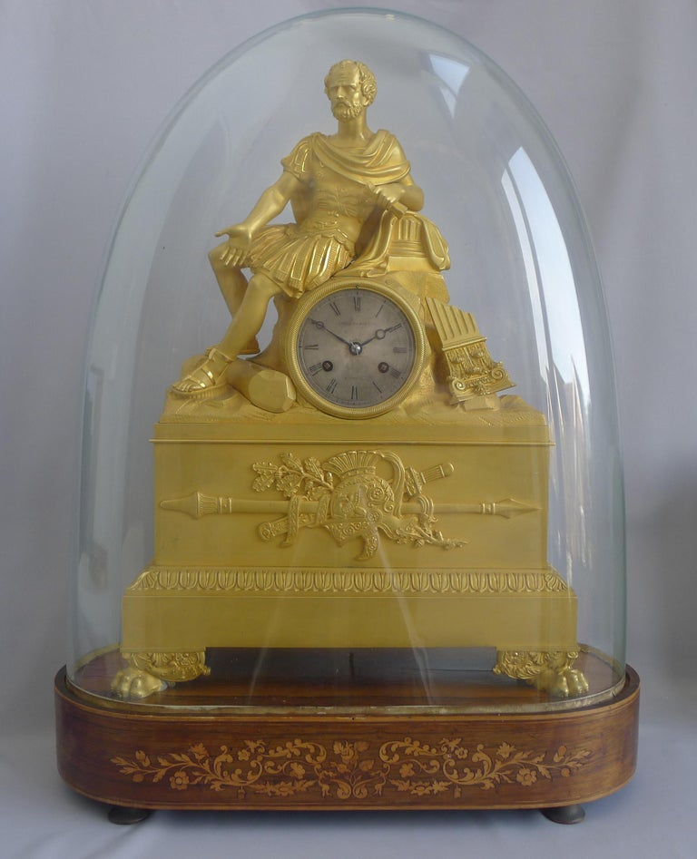 Early 19th Century French Charles X Musical Ormolu Mantel Clock of Gaius Marius Signed Robert Houdi For Sale