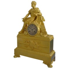 French Charles X Musical Ormolu Mantel Clock of Gaius Marius Signed Robert Houdi