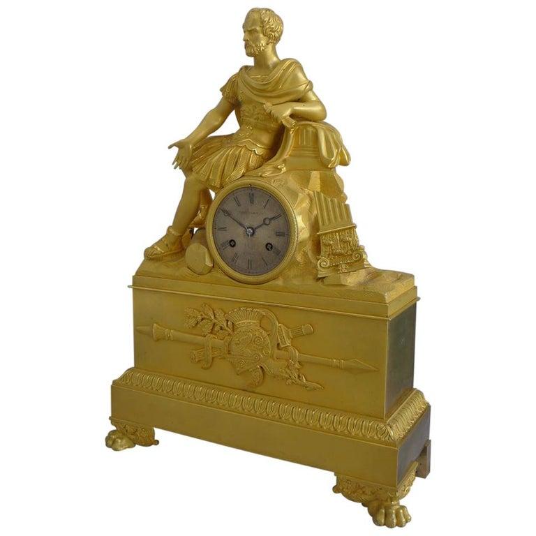 French Charles X Musical Ormolu Mantel Clock of Gaius Marius Signed Robert Houdi For Sale