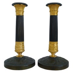 French Charles X Ormolu and Patinated Bronze Candlesticks