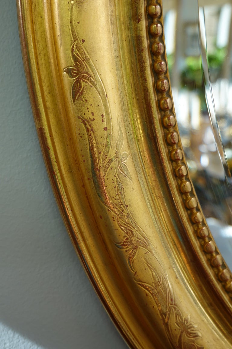 French Charles X Oval Mirror with Beveled Glass For Sale 5