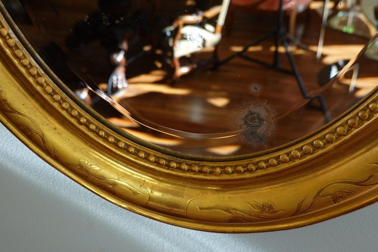 French Charles X Oval Mirror with Beveled Glass For Sale 6