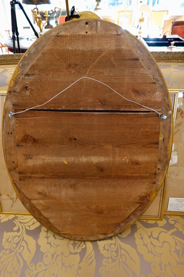 French Charles X Oval Mirror with Beveled Glass For Sale 7